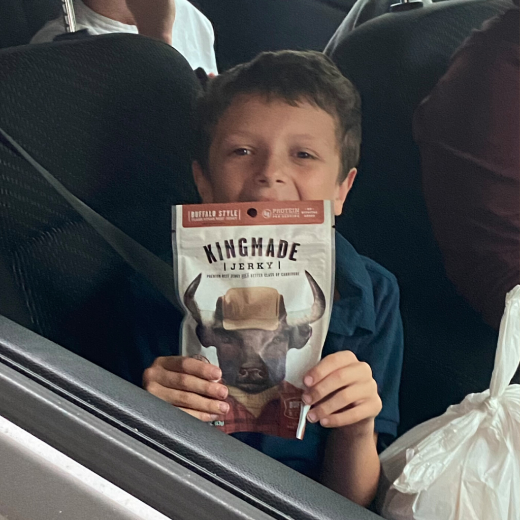 Boy with king made jerky