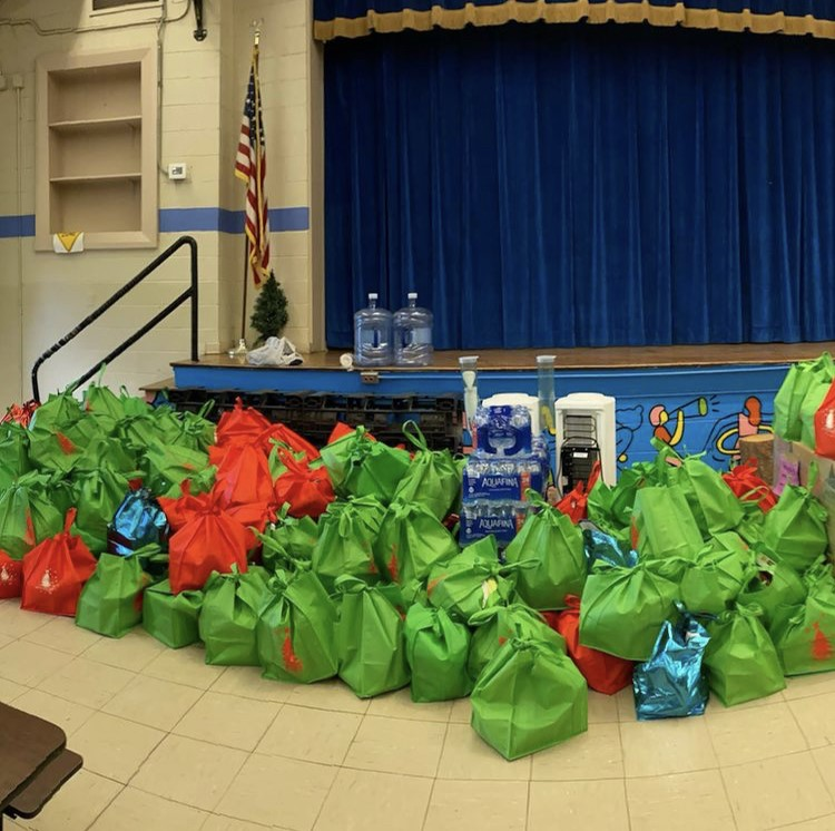 Bags of food from Furyk Foundation